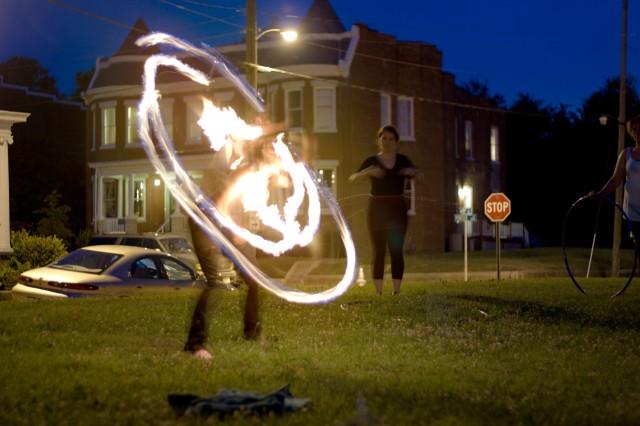 fire hula hooping