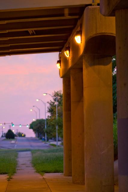 lights pink under the bridge