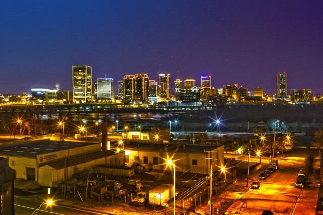 richmond city skyline night time